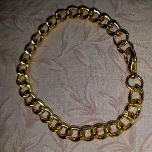 18 K Gold Plated Cuban Link Bracelet 7 Inch Length
